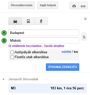 Google útvonaltervező