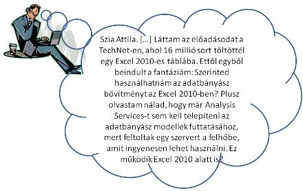Szia Attila. […] Láttam az előadásodat a TechNet-en, ahol 16 millió sort töltöttél be egy Excel 2010-be. […] Tudsz arról valamit, hogy használhatnám-e az Excel 2007-hez kiadott adatbányász bővítményt az Excel 2010-ben? Plusz olvastam nálad, hogy már Analysis Services-t sem kell telepíteni az adatbányász modellek futtatásához, mert feltoltak egy szervert a felhőbe, amit ingyenesen lehet használni. Ez működik Excel 2010 alatt is?