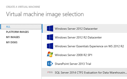 Azure Data Warehouse Image selection