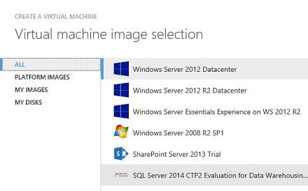 Azure Data Warehouse Image selection